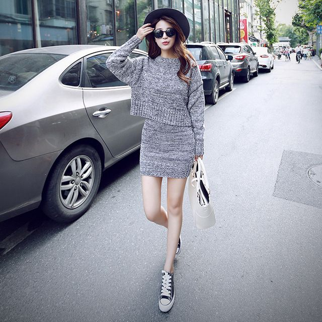 Long Sleeve Knitted Skirt Suit Autumn Winter 2017 Runway Fashion Two Piece Set Women Pullover Sweater Tops and Mini Skirts Gray