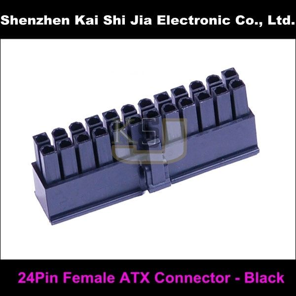 50PCS / Lot 24 Pin ATX Female PC Motherboard Power Cable Connector - Black