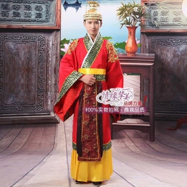 red Hot Folk Dance Chinese Man Han Clothing Emperor Prince Show Cosplay Suit Costume Minister traditional Ancient Dress