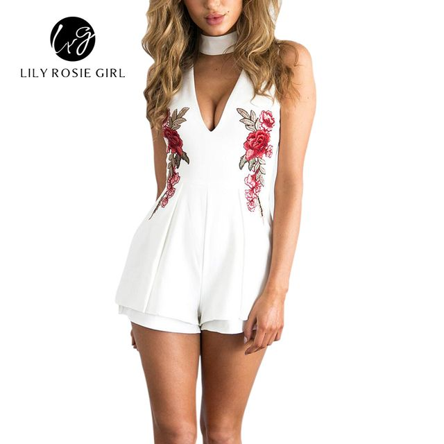 2018 Summer Elegant V Neck Rose Florla Embroidery Women Playsuits Sleeveless White Winter Rompers Jumpsuits Casual Beach Overall