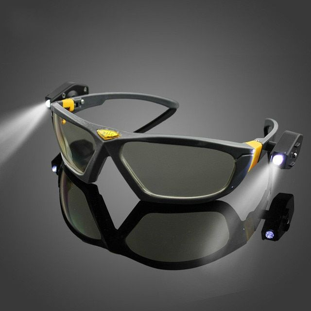 Windproof glasses with light goggles and protective glasses of high brightness light emitting lamp night night riding mine