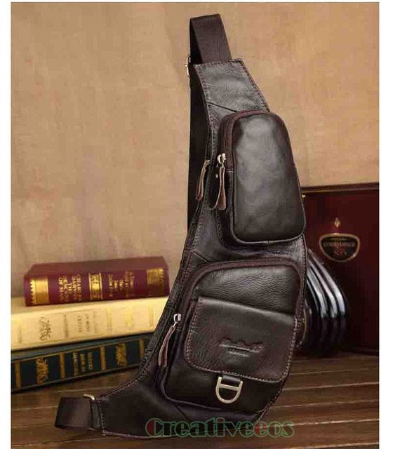 Men's Fashion Vintage Genuine Leather Travel Riding Motorcycle Messenger Shoulder Sling Pack Chest Casual Bag Pouch