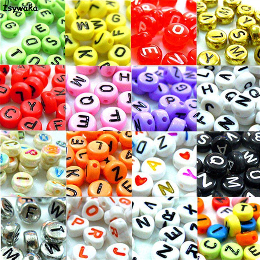 U Pick 18 Colors 500pcs 4*7mm Mixed Coin Alphabet Letter Beads Acrylic Spacer Beads For Loom Band Bracelet