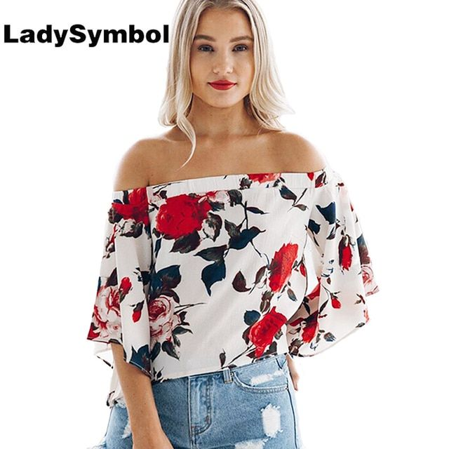 LadySymbol Floral Women Blouse Shirt 2017 Summer Tops Back Split Femme Cool Pink Off Shoulder Top Blouse Casual Blusas Shirts