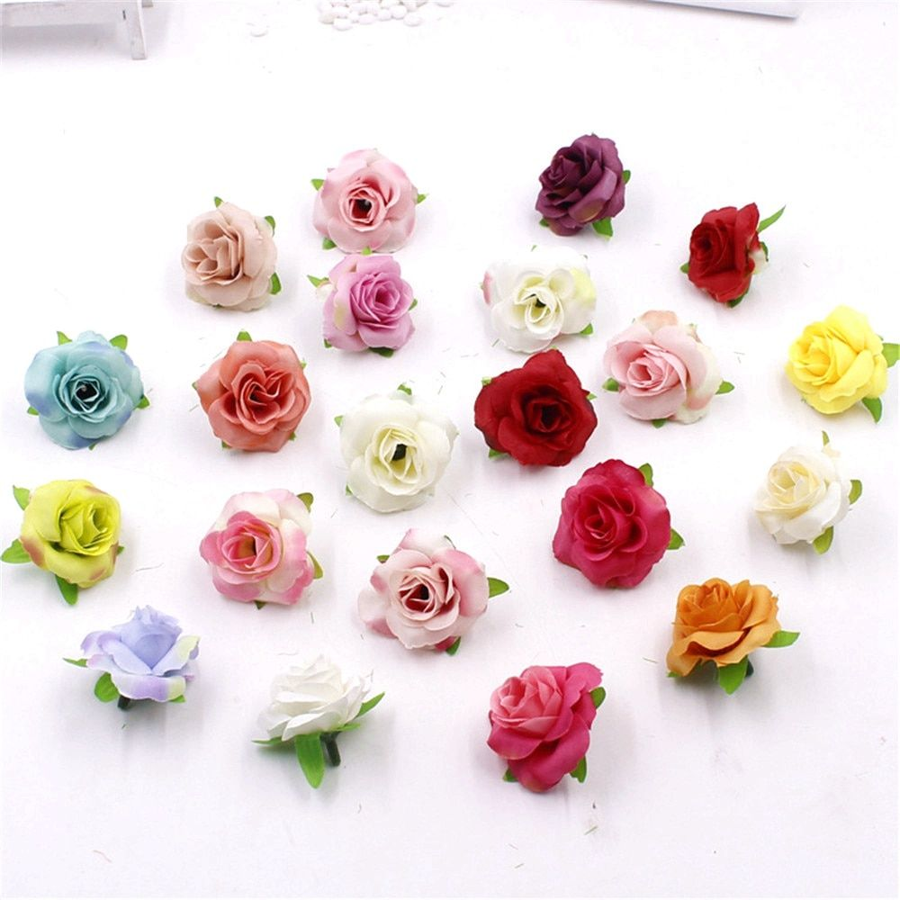 5pcs/lot Fresh and artificial flowers small tea bud Simulation small tea rose silk flower decoration flower head DIY accessories