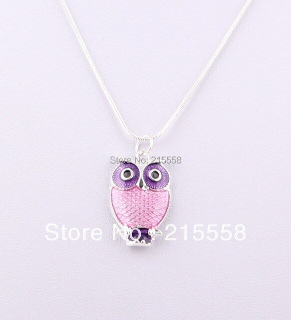 Hot Sale Fashion Night Owl Pendant Chain Necklace Enamel Owl Charms Necklace Free Shipping JJAL ZN20