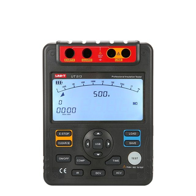 Uni T Ut513 Digital Insulation Resistance Tester Test Meter Megger 1m-1000g Ohm 5000v Usb Interface