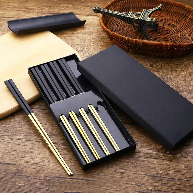 5 Pairs High-grade 304 Stainless Steel Food grade Square Non-slip Chopsticks with Box Korean Chop Sticks Gift Dinnerware