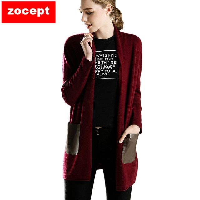 zocept  Fashion New Women's Cashmere Sweater Female Autumn Winter Kintted Soft Warm Long Cardigan High Quality Clothes