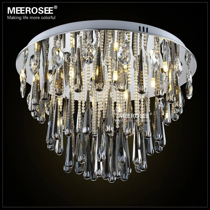 Round Crystal Light Fixture For Ceiling G4 Lustres de cristal Crystal lighting foyer Hallway Living Room Lamp Lamparas de Techo