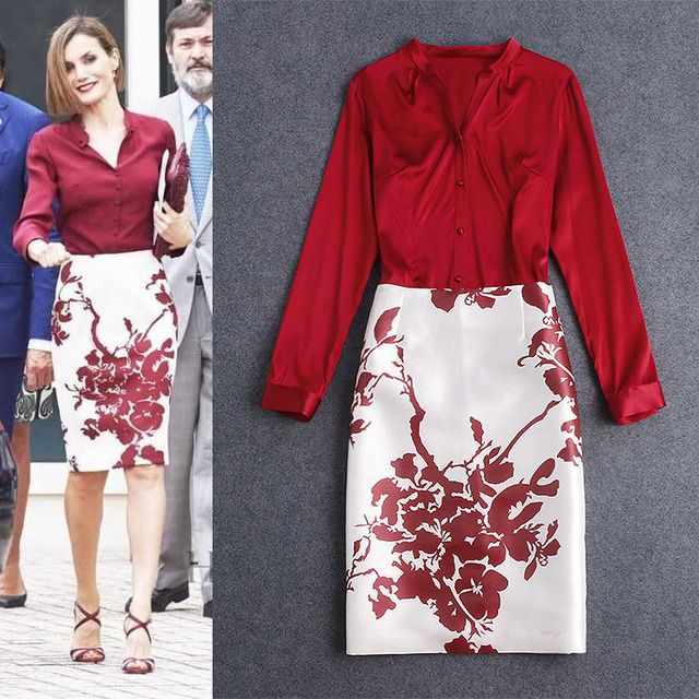 TOP Quality New 2016 Fashion Women's Sets Sexy Silk Blouse + Print Pencil Skirt 2 Pieces Set