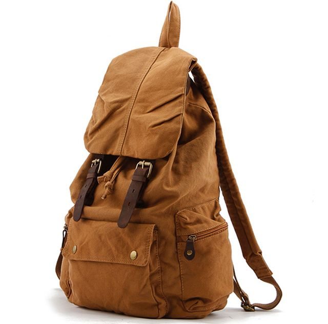 Vintage Leather Military Shoulder Bags Men/Women Backpack school bag 2017 Unisex Rucksack Casual Canvas Travel Bags