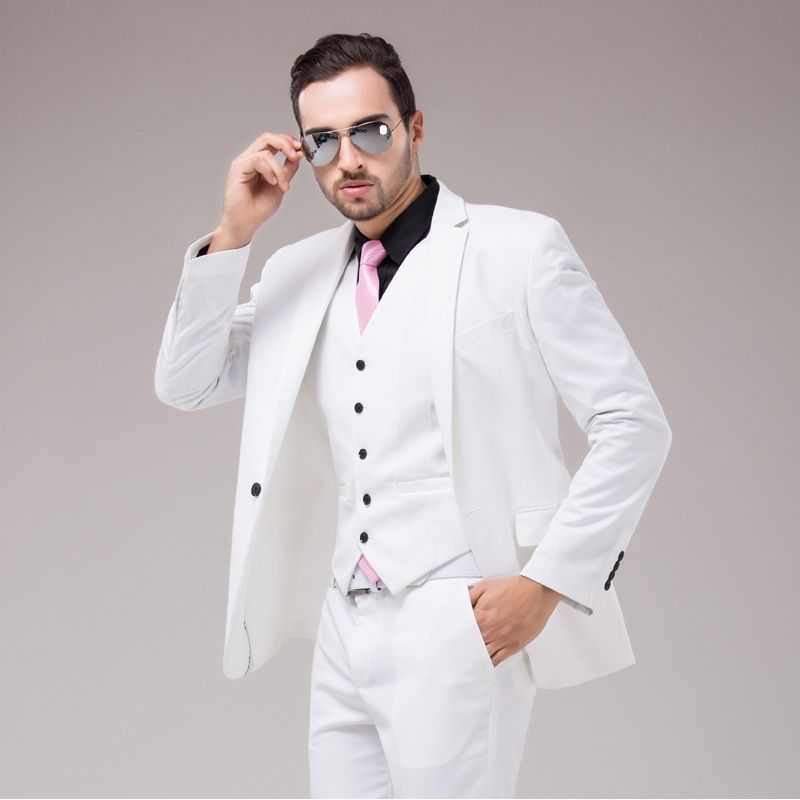 New Arrival Groomsmen Shawl Lapel Groom Tuxedos Red/White/Black Men Suits Wedding Best Slim Fit Man Blazer (Jacket+Pants+Vest)