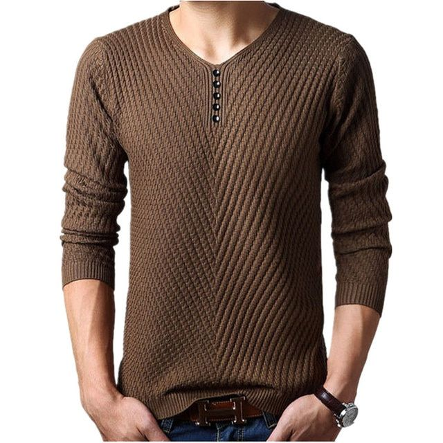 M-4XL Winter Henley Neck Sweater Men Cashmere Pullover Christmas Sweater Mens Knitted Sweaters Pull Homme Jersey Hombre 2018