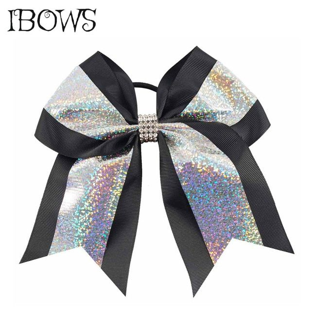 7 Inch Fashion Glitter Hair Bows Grosgrain Ribbon Printed Chevron Cheer Bow With Rhinestones Headband Ties For Girls