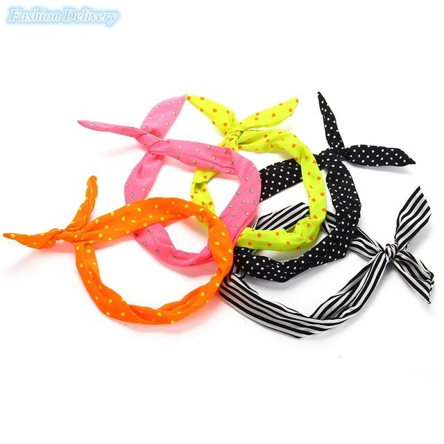 50pcs/lot Mix Color Scarf  Hair Hoop Wire Headband Cute Bunny Rabbit Ears Hair Band Fashion Girls Accessories Free Shipping