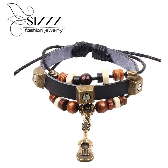 Fashion genuine leather beads charms male female pulseras jewelry With Violin Pendant Bracelet cuff bracelets for women and men.