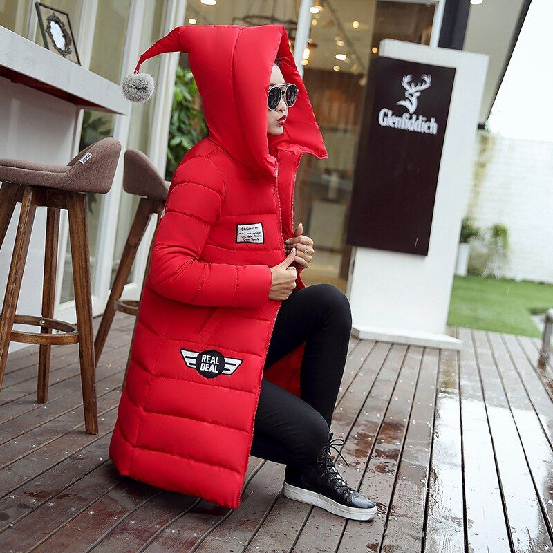 Wadded Coat Female 2016 New Women's Winter Jacket Down Cotton Jacket Slim Parkas Ladies Long Coats Hooded Jacket Femme Outerwear