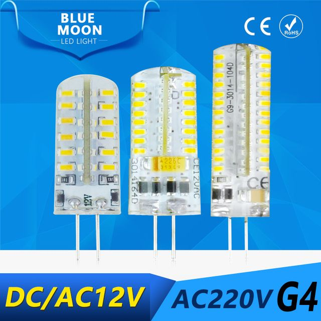 New G4 SMD3014 led bulb 2W 4W 24led 48led Silica Gel LED g4 3014smd lamp AC12V DC12V AC220v led corn bulb Warmwhite/White light