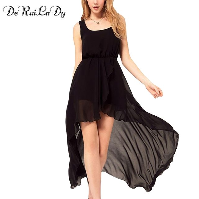 DeRuiLaDy Summer Chiffon Women Casual Maxi Dress Sexy Lace Irregular Dresses Fashion Black Dovetail Mixi Dress Beach Long Dress