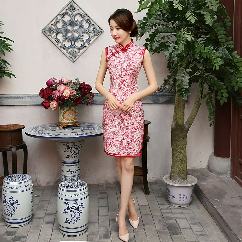 2016 silk elegant vintage slim fashion short-sleeve female summer cheongsam short design