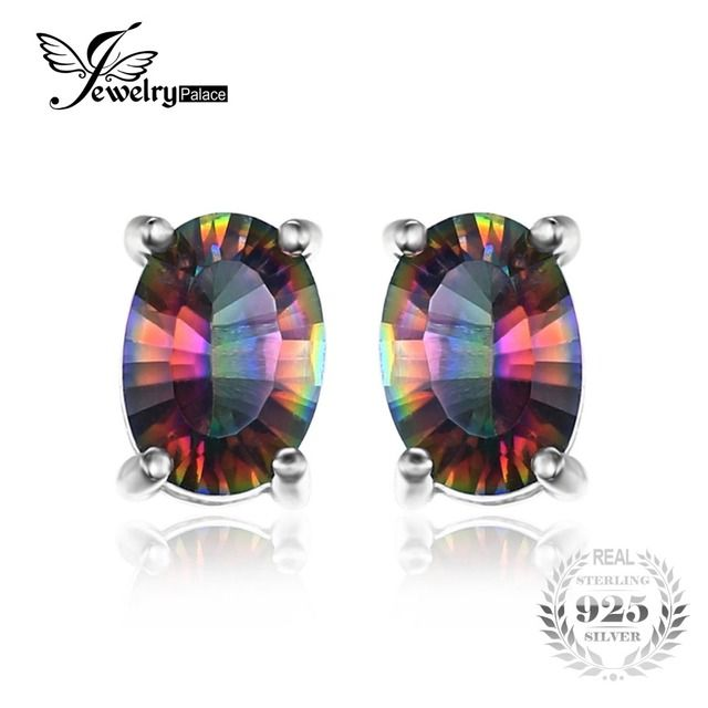 JewelryPalace 3.6ct Rainbow Fire Mystic Topazs Stud Earrings For Women Oval Concave Cut Solid 925 Sterling Silver Jewelry