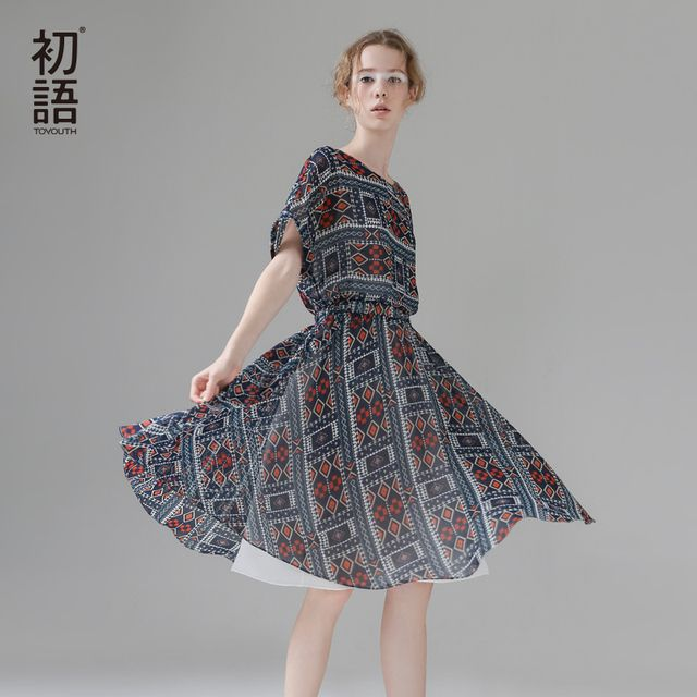 Toyouth Dress 2017 Summer New Women Vintage Style O-Neck Short Sleeve Loose Print Knee-Length Dresses