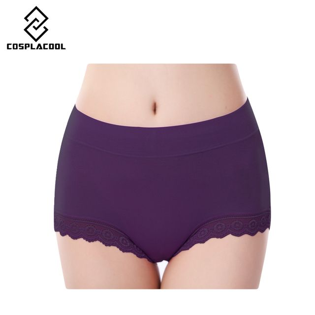 [COSPLACOOL ]Women Briefs Hight Waist Sexy Panty Lace Underwear Cuecas Modal Women Intimates Panties Plus Size Underpants
