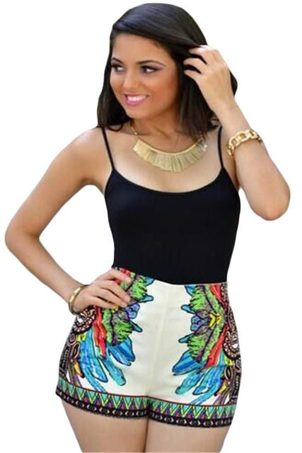 Women Jumpers And Rompers Black White Top Multi-color Floral Print High-waist Bottom Romper