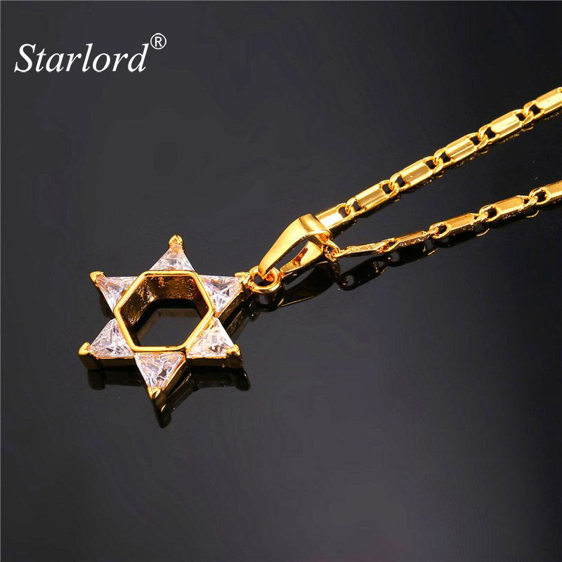 Starlord Magen Star Of David Pendant Necklace Jewelry Gold/Silver Color Cubic Zirconia Crystal Israel Jewish Necklace P2285