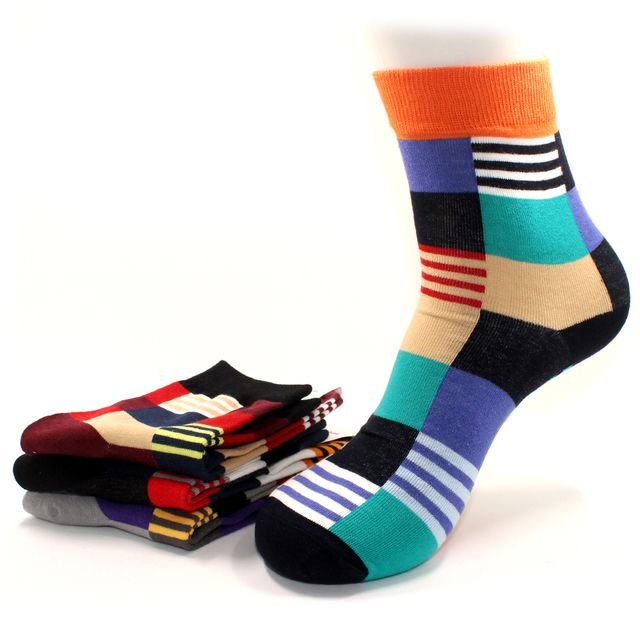 Men's Fashionable Colorful Soft Cotton Socks (5 Pack)