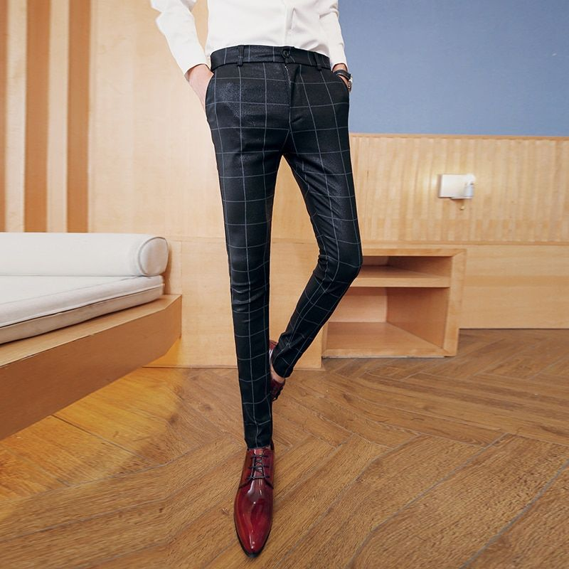 New Men's Classic Plaid Checked Glossy Slim Fit Quality Casual Office Pants Trousers