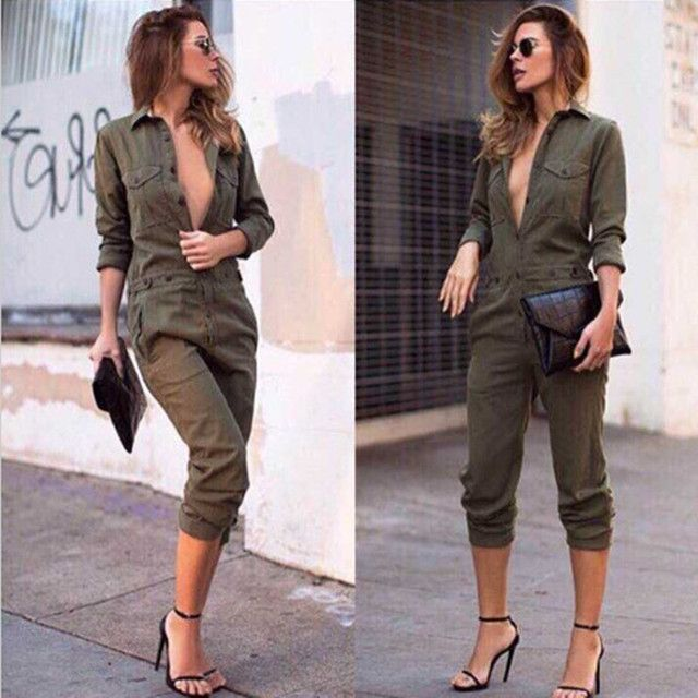 Women Slim Sexy V-neck Overalls Autumn Long Sleeve Rompers Womens Jumpsuit Overalls For Women combinaison femme