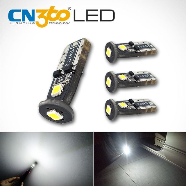 CN360 4PCS SMD 12V T10 W5W 168 194 Car LED Bulb Auto Clearance Door Reading Light Car Interior Light License Plate Lamp White