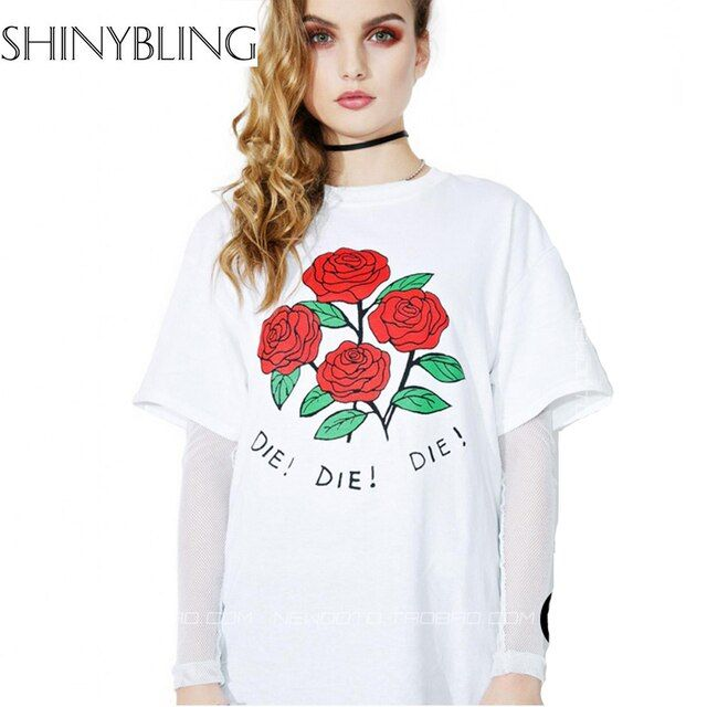 t-shirt for Women Summer 2017 Brand Fashion Designer Letter Die Rose Print Harajuku Funny Shirt Short Sleeve Big Size Top female