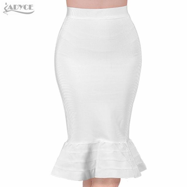 2017 New sexy women Evening Party white summer Skirt yellow black ruffles celebrity knee-length Mermaid Bodycon bandage skirts