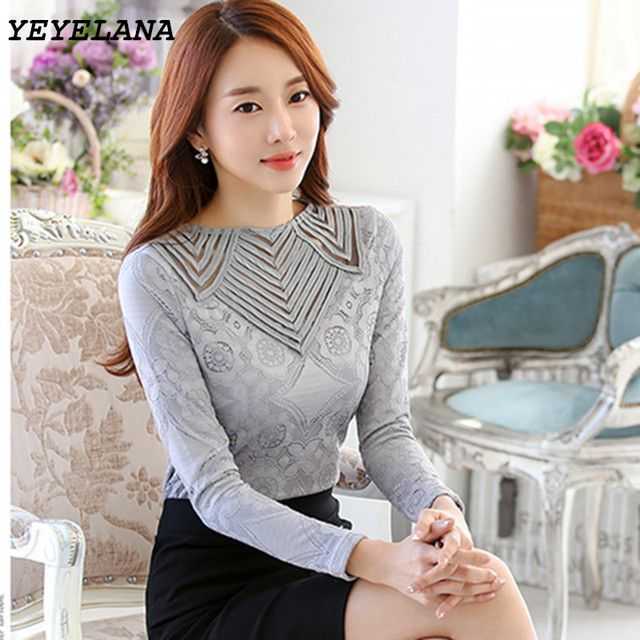 YEYELANA Women Blouse Lace Shirt Female 2018 Spring Blusa Tops long-sleeved blouse casual O-neck hollow out chiffon blouses A003