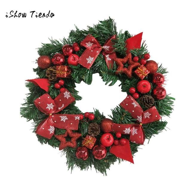 Merry Christmas Wreath Garland Bowknot Ornament Window Door Decorations DIY 40cm Holiday Decor Girls Wreaths Props New Year Gift
