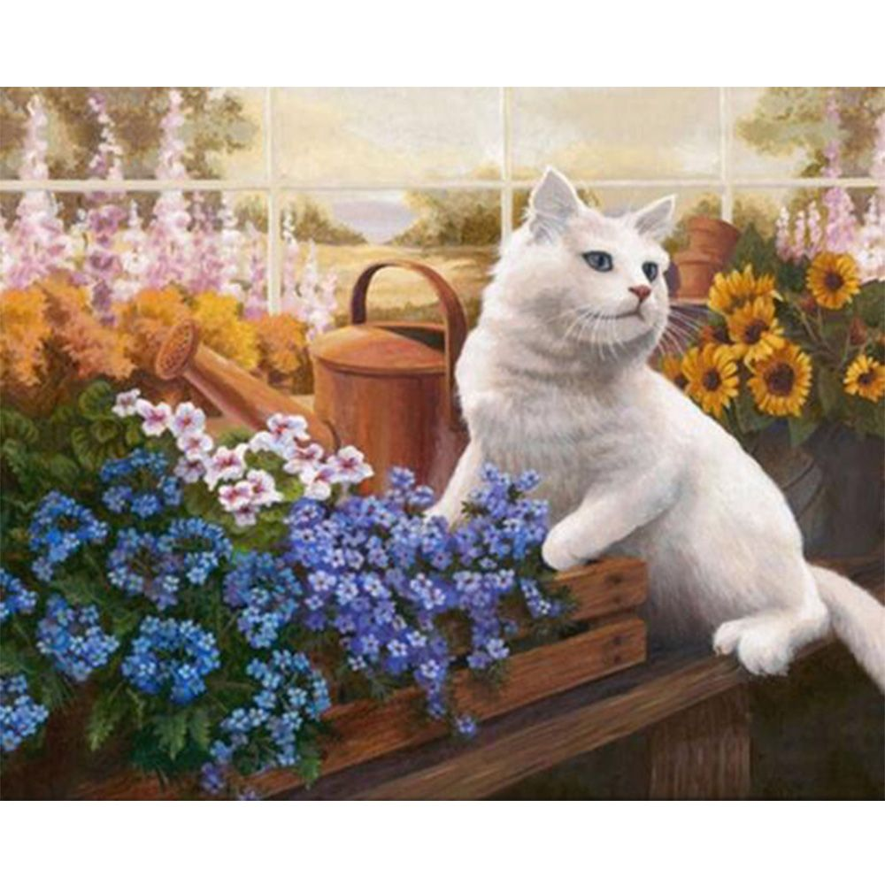 Diamond embroidery white cat love flower 5d Diy diamond square drill rhinestone pasted Crafts Needlework home decoration K365