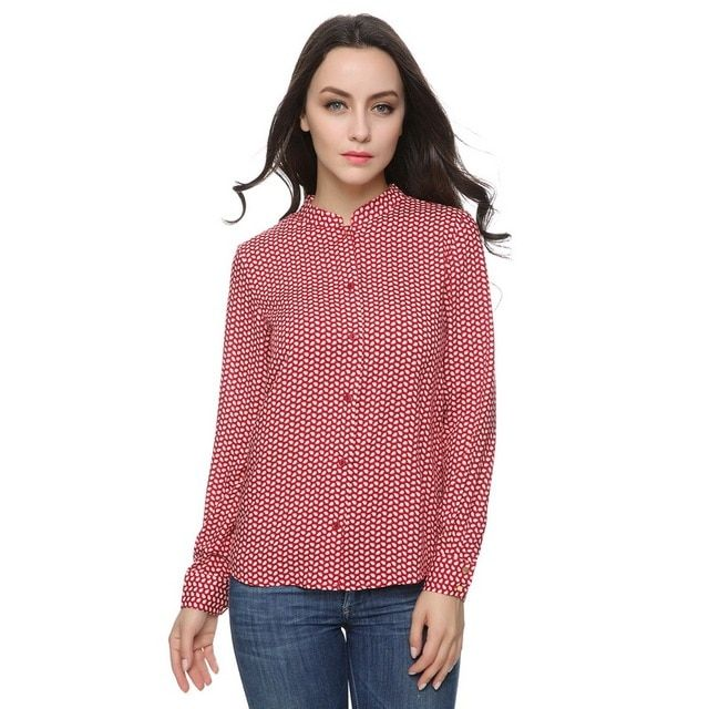 Women red print pattern blouses stand collar long sleeve Blusas Femininas European work wear shirts casual tops