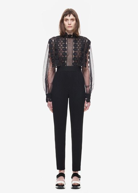 Self Portrait Balloon Sleeve Jumpsuit Woman Mesh Patchwork Stretch Tunic Guipure lace, tulle and crepe jumpsuit