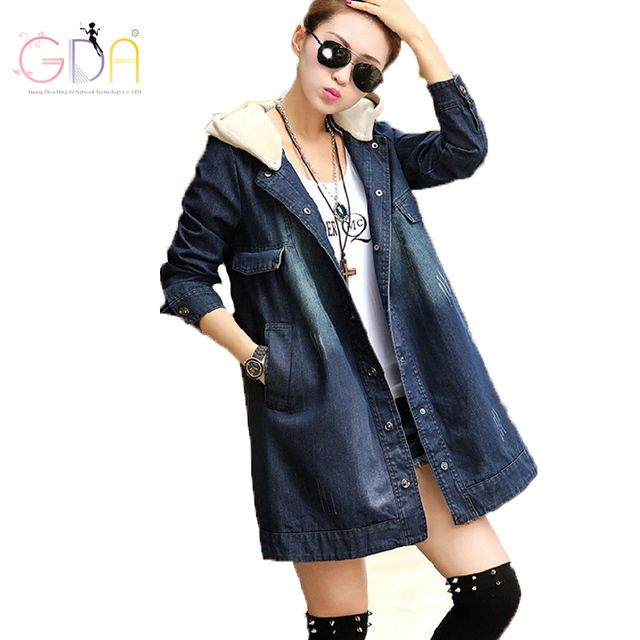GDA Autumn 2016 Plus Size Ladies Denim Coat Fashion Hooded Loose Jacket Casual Denim Outerwear Long Sleeve Women Coat S-4XL Y