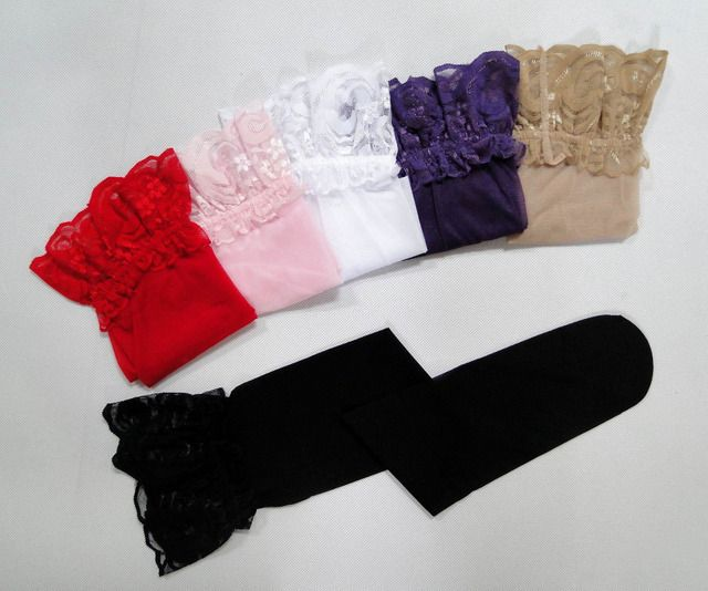 2014 women sexy sheer Lace Top Silicone Band Stay Up Thigh High Stockings Pantyhose AO1001 black, white red  6 colors