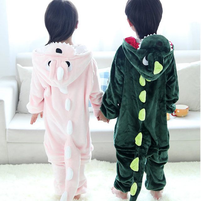 Children Unisex Dragon Pajamas Pink Green Dinosaur Cosplay Costumes Hooded For Kids One Piece Sleepwear ropa de bebe pijama