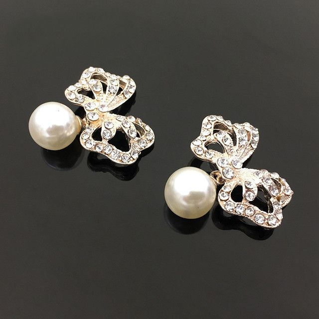SEA MEW 32mm*30mm Fashion Metal Alloy Pearl Rhinestone Bowknot Connectors Charm For Jewelry Making Accessories