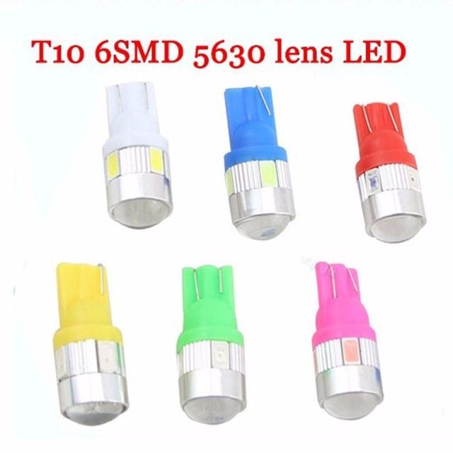Car styling Auto Car Light Bulb T10 lamp 5730  6SMD LED Interior Parking Projector Lens 12V