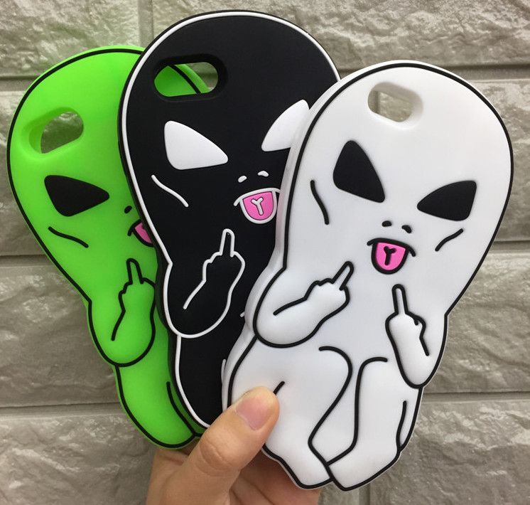 Fashion 3D Cartoon aliens Rubber Soft Cute Back Cover for iPhone 5 6s 7plus 8plus Funny Silicone Phone Case Shell