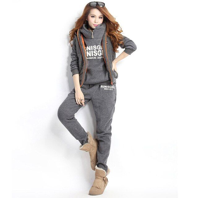 Winter Sportwear Casual Tracksuit For women Sleeveless Jacket Hooded With Pants Three-piece Suit Women's Clothing Sets Playsuit