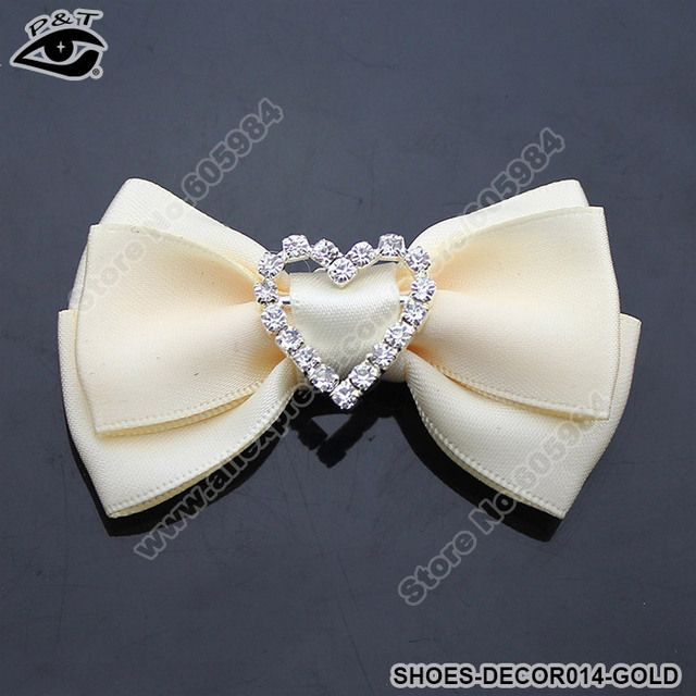Fashion Lady's Gold Fabric Bow Clip-On Rhinestones Shoe Decoration Clip Wedding Shoe Decor Free Shipping