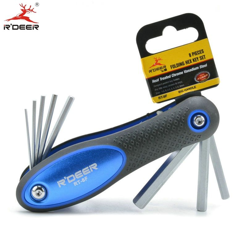 RDEER 8Pcs Folding Hex Key Screwdriver Set Heat Treated CR-V 1.5-8mm Spanner Wrench Hand Tools